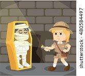 woman explorer finds mummy in... | Shutterstock .eps vector #480584497