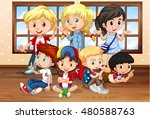 many children in classroom... | Shutterstock .eps vector #480588763