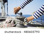 young handsome sailor pulling... | Shutterstock . vector #480603793