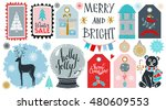 holiday merry christmas icons ... | Shutterstock .eps vector #480609553