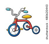 red children's tricycle... | Shutterstock .eps vector #480620443