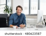 cheerful young businessman... | Shutterstock . vector #480623587