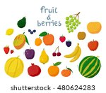 set of cartoon colorful fruit... | Shutterstock .eps vector #480624283