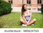 beautiful girl seat down on a... | Shutterstock . vector #480624763