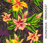 vector seamless floral pattern... | Shutterstock .eps vector #480634237