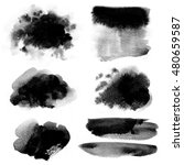 set of ink spots painted on a... | Shutterstock . vector #480659587