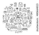 Stock vector cute cartoon doodle pet shop icons logo dog cat mouse rabbit cage bird fish collar bone 480664813