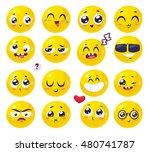 set of funny smiles. vector... | Shutterstock .eps vector #480741787
