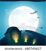 blue halloween background with... | Shutterstock . vector #480745627