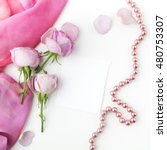 pink roses and pearl necklace... | Shutterstock . vector #480753307
