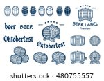 set of barrels in vintage style.... | Shutterstock . vector #480755557