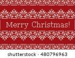 scandinavian fair isle knitting ... | Shutterstock .eps vector #480796963