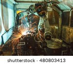 welding robots movement in a... | Shutterstock . vector #480803413