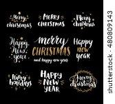 set of hand drawn merry... | Shutterstock .eps vector #480809143