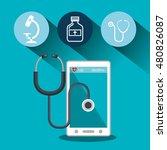set smartphone services medical ... | Shutterstock .eps vector #480826087