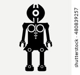 robot with satellite dish  flat ...   Shutterstock .eps vector #480839257