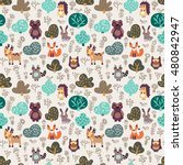 funny animal seamless pattern... | Shutterstock .eps vector #480842947