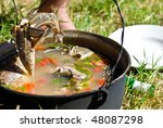 kettle with fish soup made with ... | Shutterstock . vector #48087298