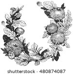 floral wreath  hand drawn... | Shutterstock . vector #480874087