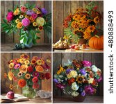 Collage With Bouquets Of Autum...
