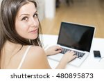 pretty young woman working on... | Shutterstock . vector #480895873