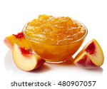 bowl of peach jam isolated on... | Shutterstock . vector #480907057