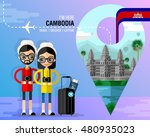 cambodia travel   in flat style.... | Shutterstock .eps vector #480935023