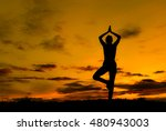 silhouette young woman...   Shutterstock . vector #480943003
