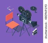cinema  vector isometric... | Shutterstock .eps vector #480969193