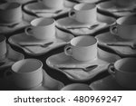 many rows of white ceramic... | Shutterstock . vector #480969247