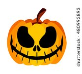scary halloween pumpkin with a... | Shutterstock .eps vector #480992893