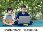 two boys studying by online... | Shutterstock . vector #481008637
