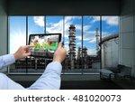 industry 4.0 concept .man hand... | Shutterstock . vector #481020073