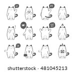 Stock vector set of a cute cartoon cat in various poses and with different emotions 481045213