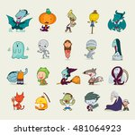 set of a halloween character ... | Shutterstock .eps vector #481064923
