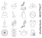 outline spa icons set....