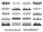 set of vector black sound wave  ... | Shutterstock .eps vector #481080847