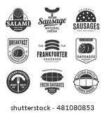 set of sausage black and white... | Shutterstock .eps vector #481080853