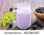 blackberry yogurt | Shutterstock . vector #481085287