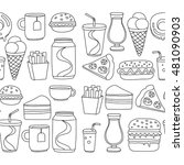 hand drawn vector doodle icons... | Shutterstock .eps vector #481090903