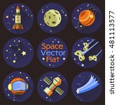 set of space objects in a flat... | Shutterstock .eps vector #481113577