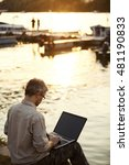 man working on computer in... | Shutterstock . vector #481190833