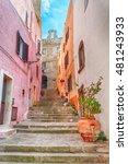 Small photo of the beautiful alley of castelsardo old city - sardinia - italy