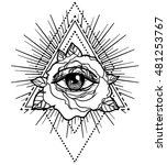 all seeing eye pyramid symbol... | Shutterstock .eps vector #481253767