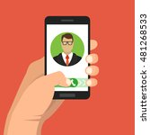 incoming call on smartphone... | Shutterstock .eps vector #481268533