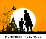 concept halloween father and... | Shutterstock . vector #481278733