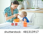 mum spoon feeds the child | Shutterstock . vector #481313917