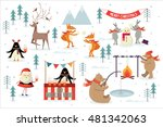 christmas  winter scene vector... | Shutterstock .eps vector #481342063