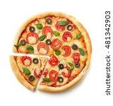 Margarita Pizza Isolated On...