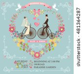 cute wedding invitation with... | Shutterstock . vector #481364287